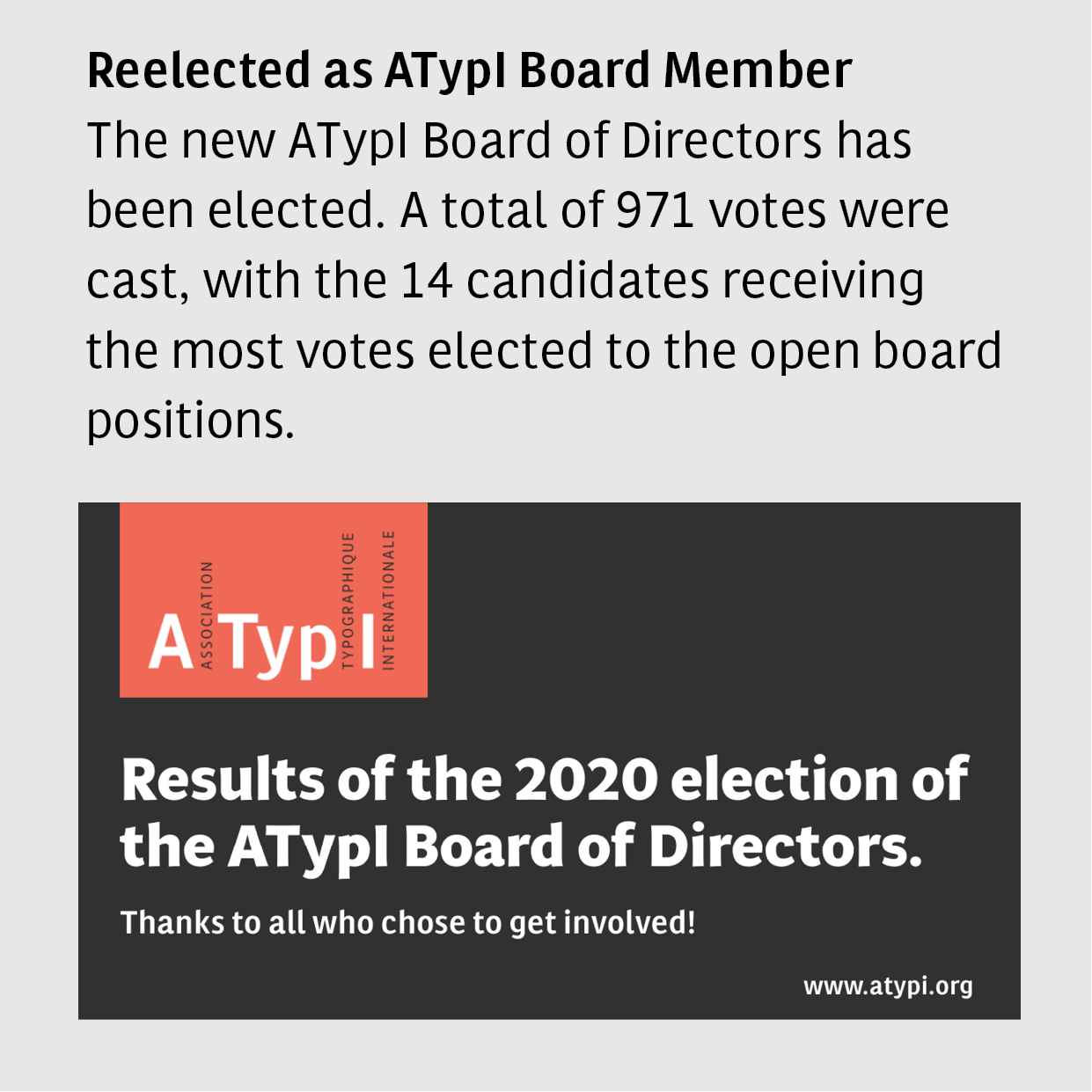 News: Reelected as ATypI Board Member 2020