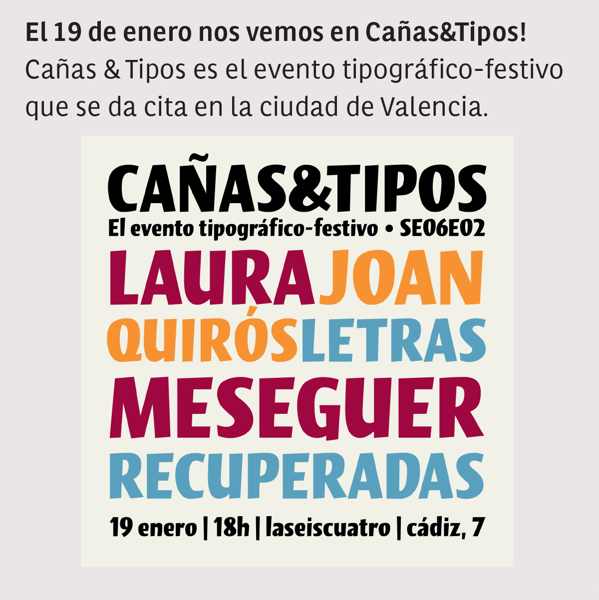 Talk at Cañas&Tipos