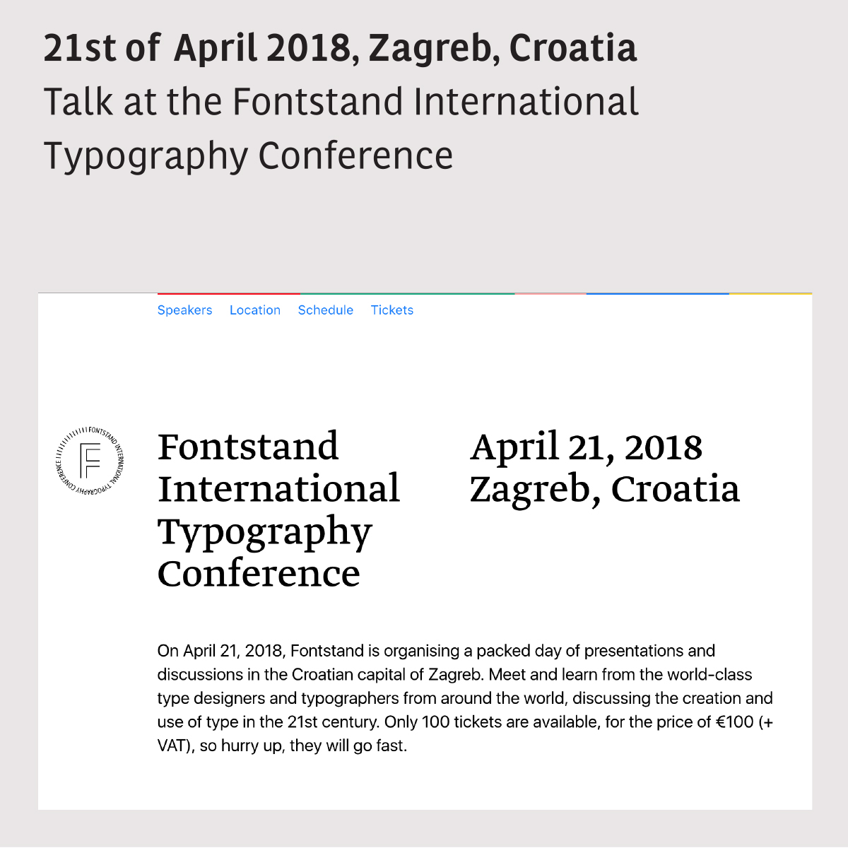 Talk: Fontstand International Typography Conference