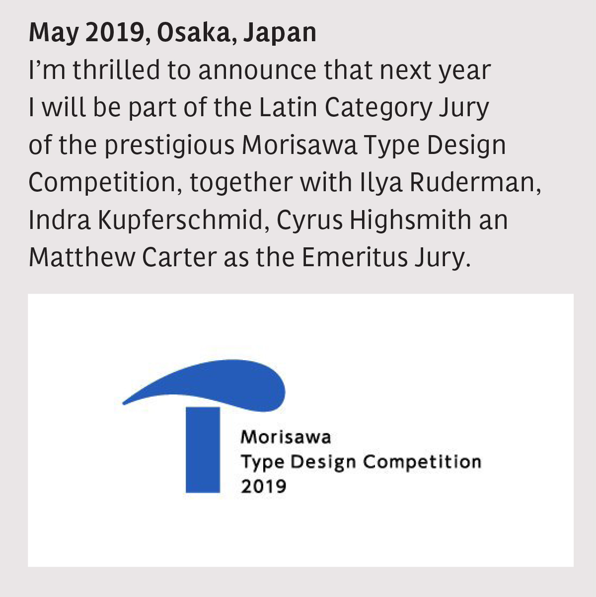Jury: Morisawa Type Design Competition 2019