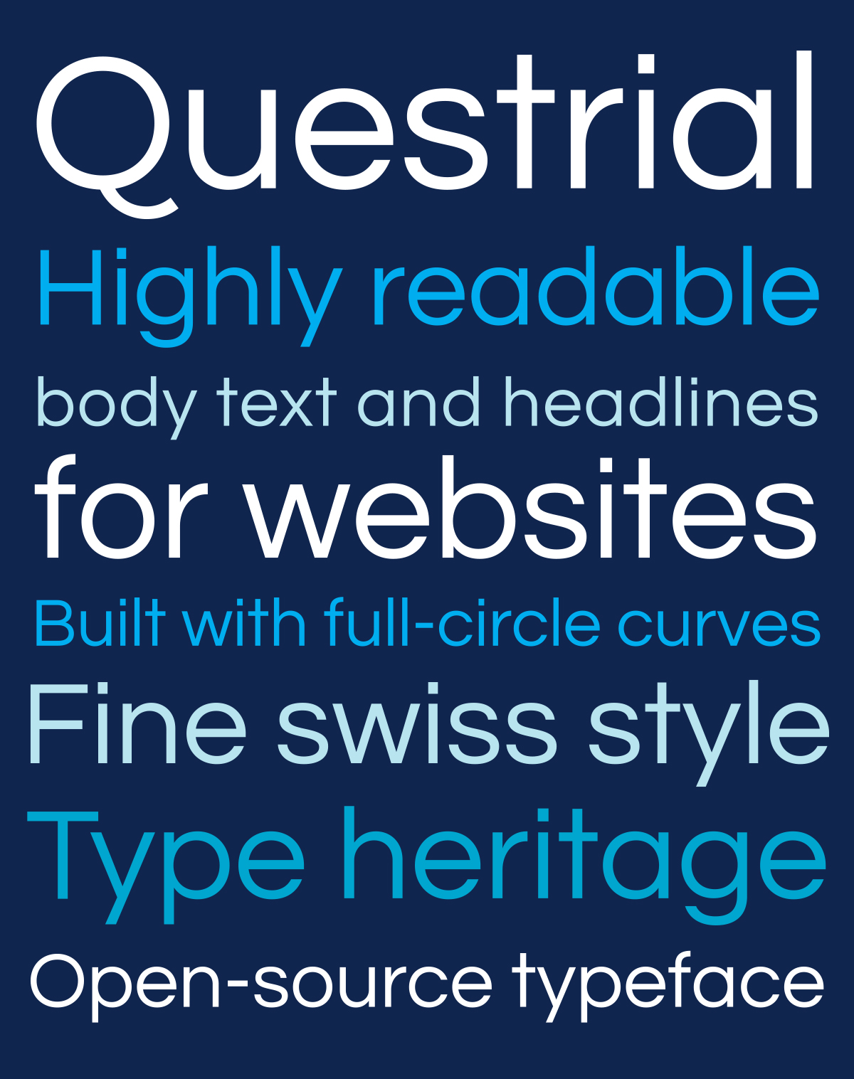 Retail Type Design: Questrial for Google Fonts
