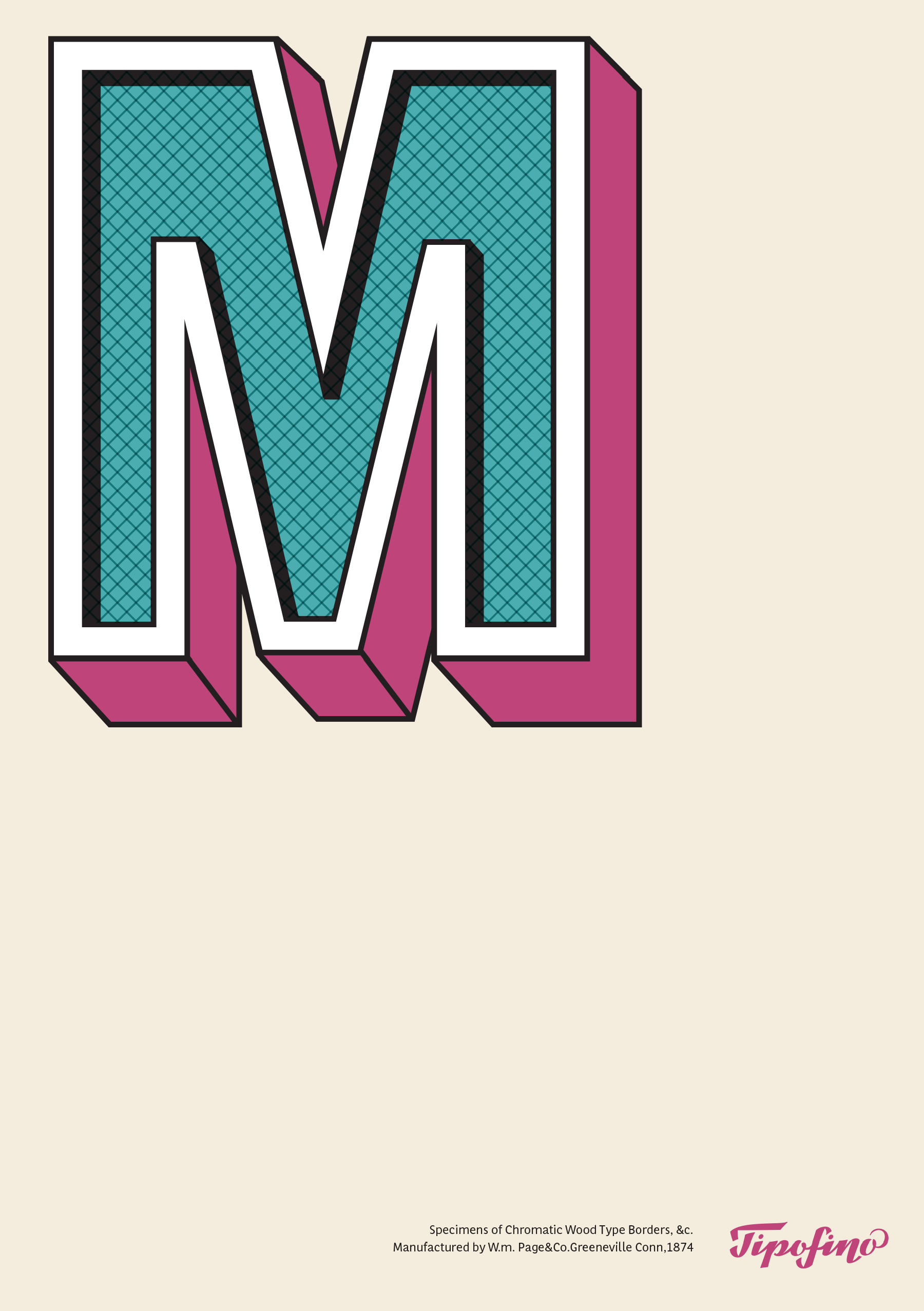 Typographic Poster: «M Wood Type» for Tipofino