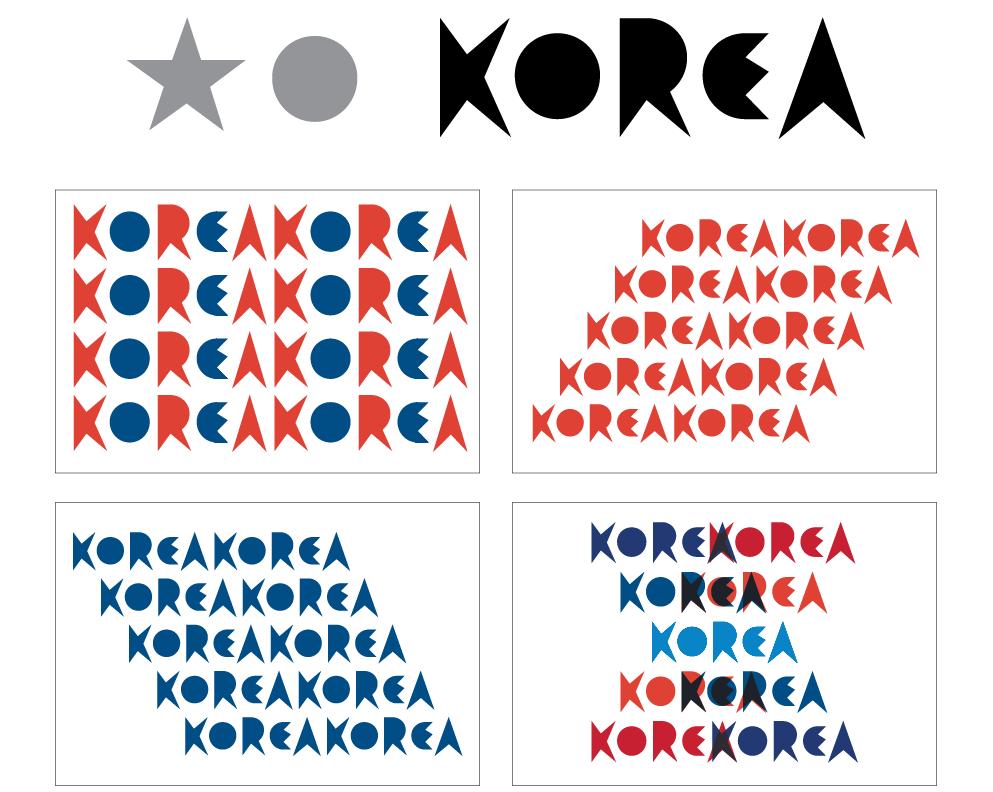 Lettering for an imaginary United Korea Flag Design Process